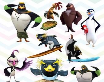 Surf's Up 2 Clipart, Surf's Up PNG, Penguins Files, Printable Clipart, Transparent Background PNG, Digital Files for Kids - CUTE-026