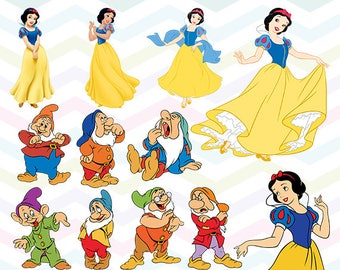 Snow White Clipart, Snow White PNG, Princess Files, Printable Clipart, Transparent Background PNG, Digital Files for Kids - CUTE-019
