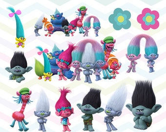 Trolls Clipart, Trolls PNG, Trolls Movie Files, Printable Clipart, Transparent Background PNG, Digital Files for Kids - CUTE-029