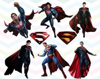 Superman Clipart, Superman PNG, Superhero Files, Printable Clipart, Transparent Background PNG, Digital Files for Kids - CUTE-025