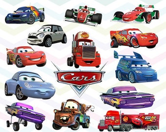 Cars Clipart, Cars Movie PNG, Lightening McQueen Files, Printable Clipart, Transparent Background PNG, Digital Files for Kids - CUTE-035