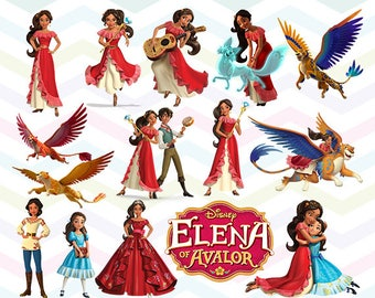 Elena of Avalor Clipart, Princess Elena PNG, Elena Files, Printable Clipart, Transparent Background PNG, Digital Files for Kids - CUTE-006