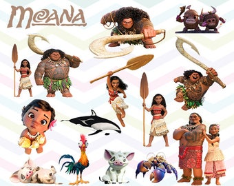Moana Clipart, Moana PNG, Moana Files, Printable Clipart, Transparent Background PNG, Digital Files for Kids - CUTE-010