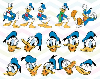 Donald Duck Clipart, Donald Duck PNG, Donald Faces Files, Printable Clipart, Transparent Background PNG, Digital Files for Kids - CUTE-038