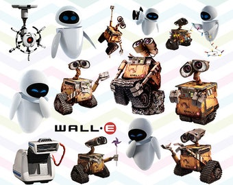 Wall-E Clipart, Wall-E PNG, Wall E and Eva Files, Printable Clipart, Transparent Background PNG, Digital Files for Kids - CUTE-030
