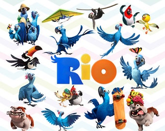 Rio Clipart, Rio PNG, Rio Movie Files, Printable Clipart, Transparent Background PNG, Digital Files for Kids - CUTE-017