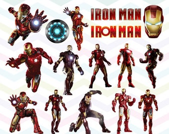 Iron Man Clipart, Iron Man PNG, Superhero Files, Marvel, Printable Clipart, Transparent Background PNG, Digital Files for Kids - CUTE-008