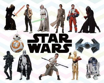 Star Wars The Force Awakens Clipart, Star Wars PNG, Star Wars Files, Printable Clipart, Transparent Background PNG, Digital Files - CUTE-041