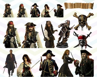 Pirates of the Caribbean Clipart, Pirates PNG Files, Printable Clipart, Transparent Background PNG, Digital Files for Kids - CUTE-014