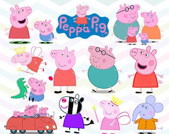 Peppa Pig Clipart, Peppa Pig PNG, Peppa Family Files, Printable Clipart, Transparent Background PNG, Digital Files for Kids - CUTE-012