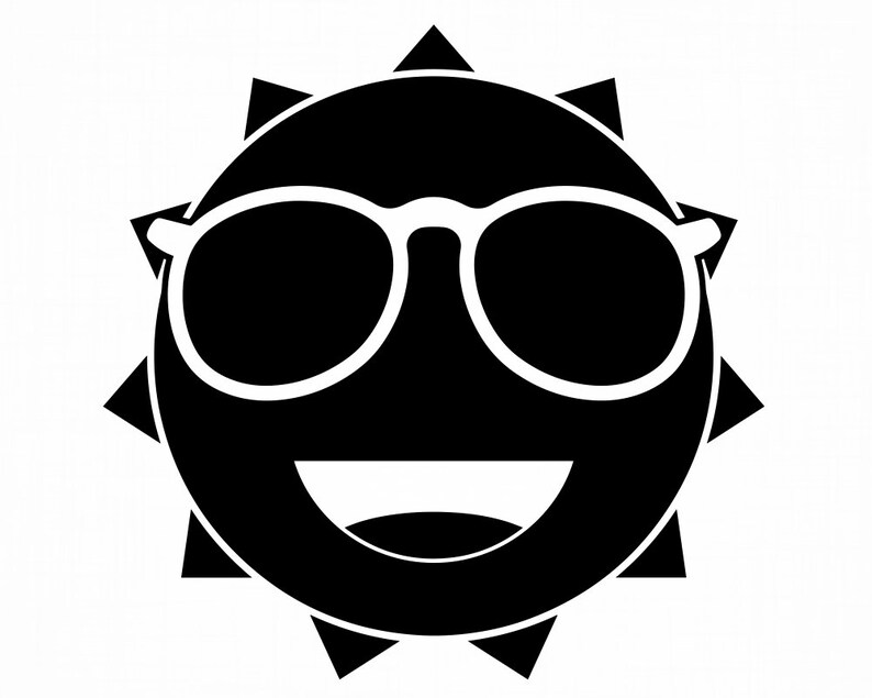 Smiling Sun In Sunglasses Sun Sunny Weather Summer Heat Vacation SVG Cut Files PNG Clipart Vector Logo Design Cricut Eps Dxf