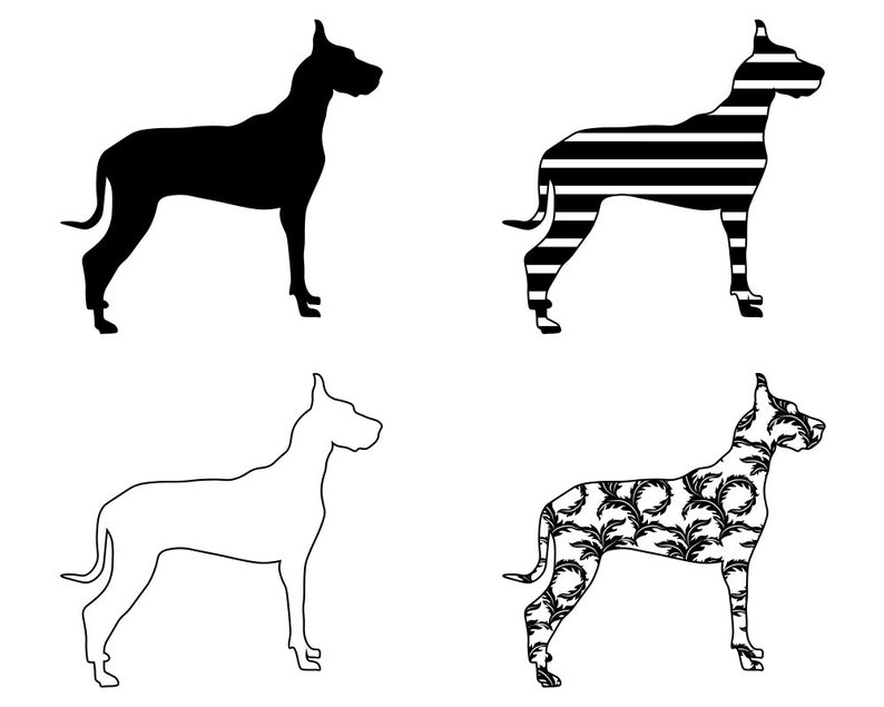 Great Dane SVG Bundle PNG Dog Design Pet Canine Logo Mascot Clipart Vector Cut Files Cricut Eps Dxf