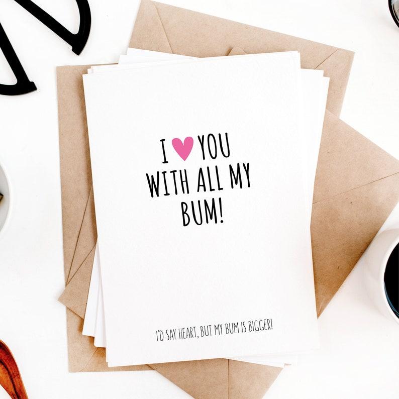 Funny Valentines card for boyfriend girlfriend wife husband humour folded card