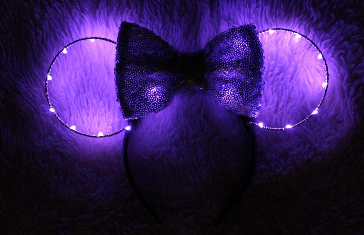 Light Up Minnie Ears Purple Minnie Ears Purple Minnie Mouse Etsy