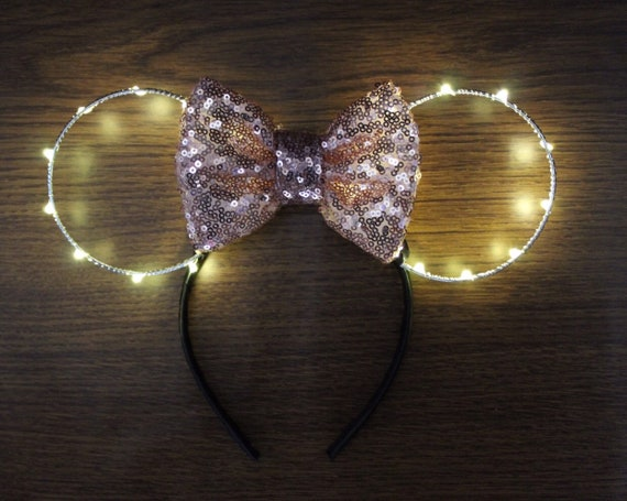 Light Up Minnie Mouse Ears Rose Gold Minnie Ears Mouse Ears Etsy