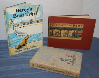 Vintage Childrens Books, Classic Stories, Book Collectors, Christopher Robin, Peter and the Wolf, Benjy's Boat Trip, Shelf Decor, Home Decor