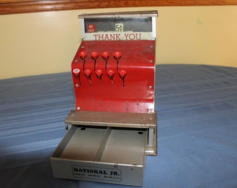 Vintage Toy Cash Register, Mid-Century Metal Cash Register Collectible, Children's Toy, Red Push Button Register, Pretend Play, Decor
