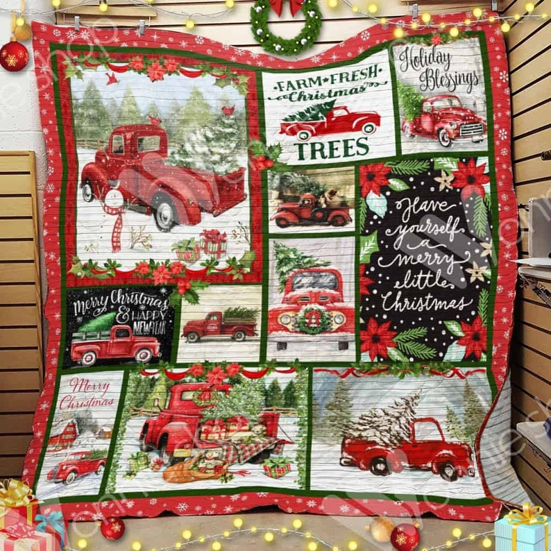 Christmas quilts. Christmas truck. Holiday quilt. Red truck. Christmas Trucks 2
