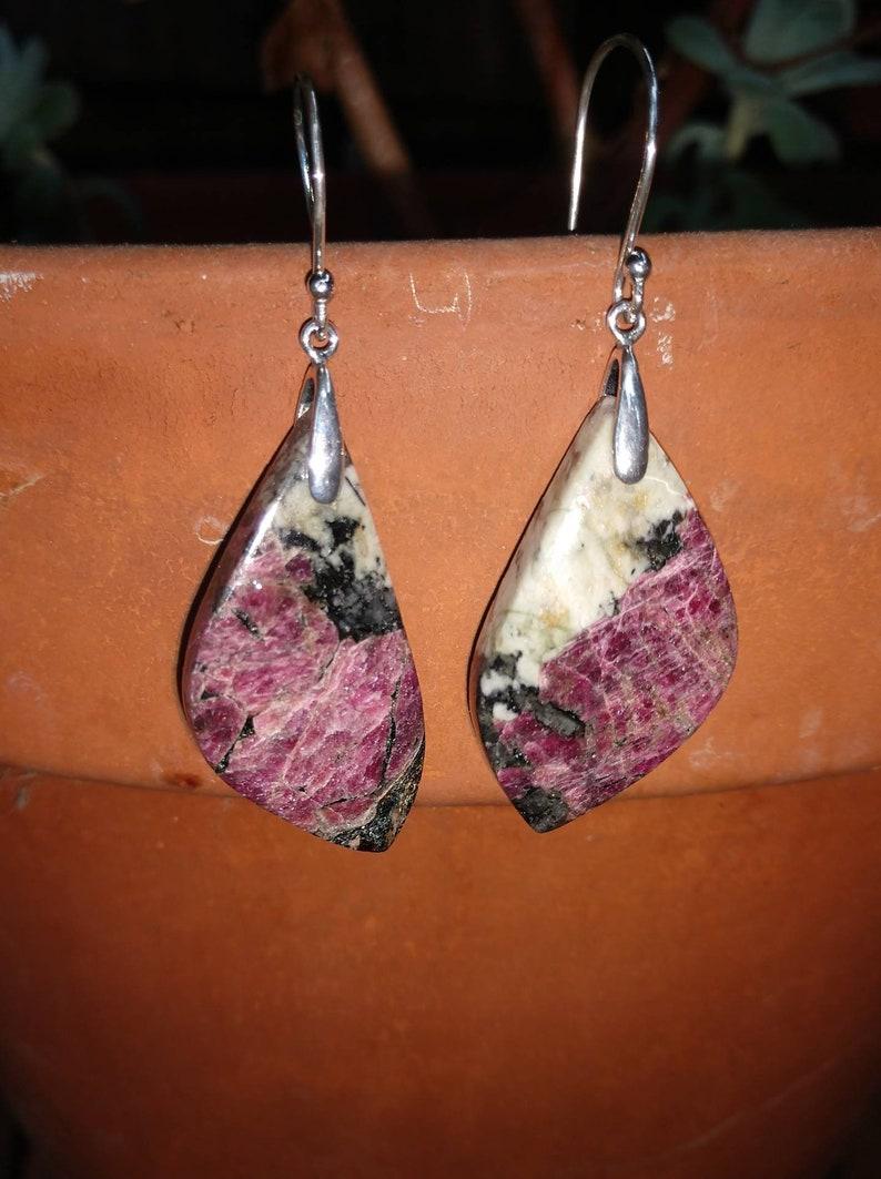 Natural Eudilatye purple earrings.