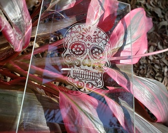 Beveled Flat Glass Etched with Sugar Skull