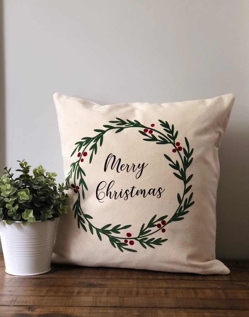 06203d5444 Christmas Throw Pillow Cover Merry Christmas Pillow Holiday | Etsy