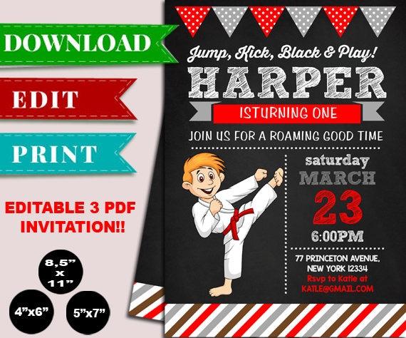 Karate Boy Birthday Invitation Editable PDF