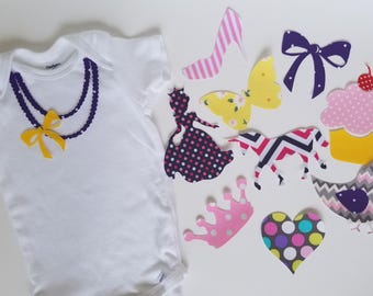 Girly Princess baby shower iron on appliques for DIY baby shower activity/game. Customize your order by messaging me