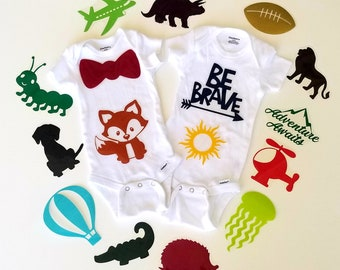 Assorted baby boy iron on applique decals for DIY baby shower activity/game. Customize your order easily by messaging me!!