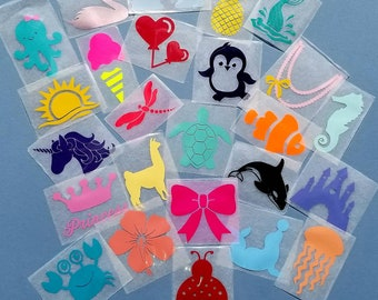 Assorted baby girl iron on applique decals for DIY baby shower activity/game. Customize your order easily by messaging me!!