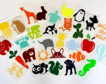Assorted gender neutral iron on applique decals for DIY baby shower activity/game. Customize your order easily by messaging me!!