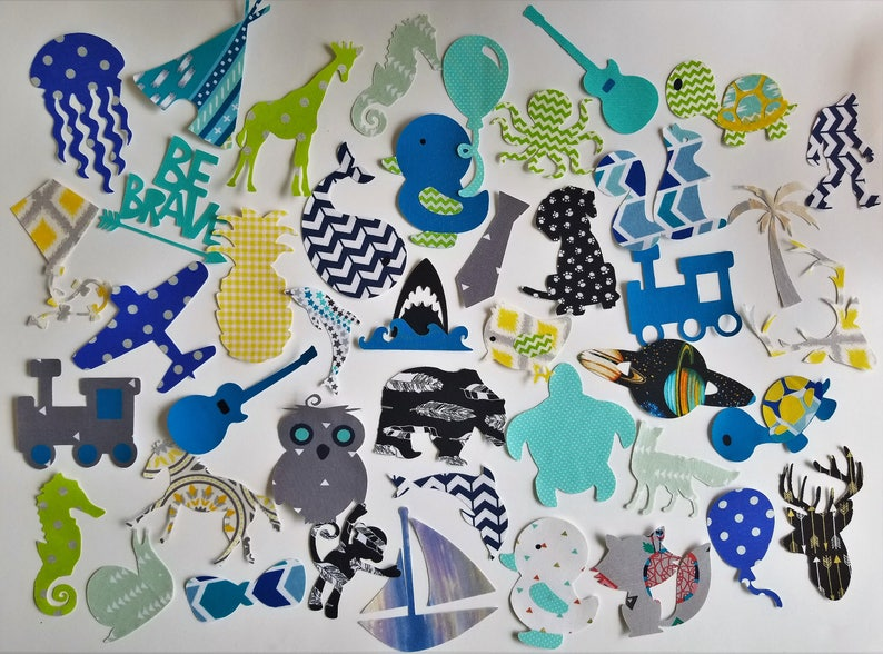 Assorted baby boy iron on appliques for DIY baby shower image 1