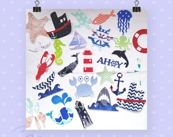 Nautical Theme baby iron on appliques for DIY baby shower activity/game. Customize your order easily by messaging me!