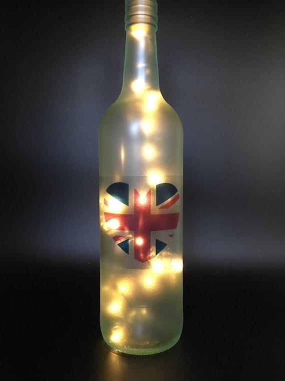 Union Jack light, light up bottle, bottle lamp, heart light, union jack  heart, uk flag decoration, British, ornament, United Kingdom