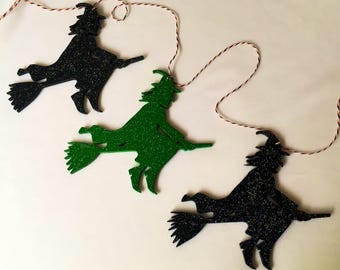 Trio of sparkling witches Halloween hanging garland