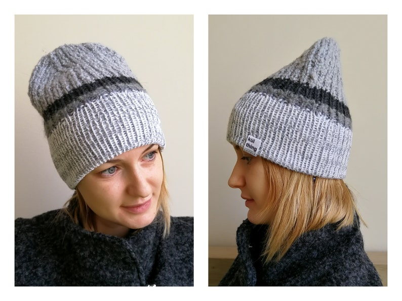 8aedf3e29ca Spring grey beanie hat fitted hat knit beanie hat grey knit