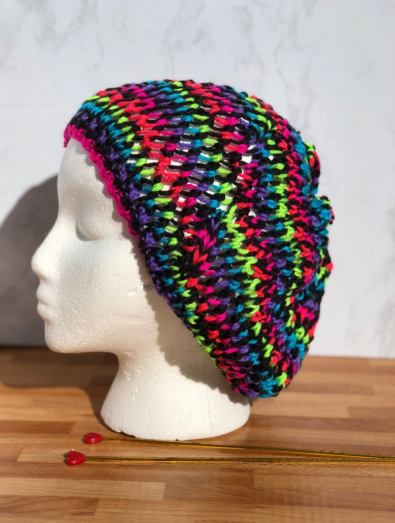 ee30023d090 Neon colored slouchy beanie bright colors fun hat colorful
