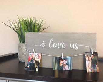 I Love Us Hand Painted Grey Wooden Sign