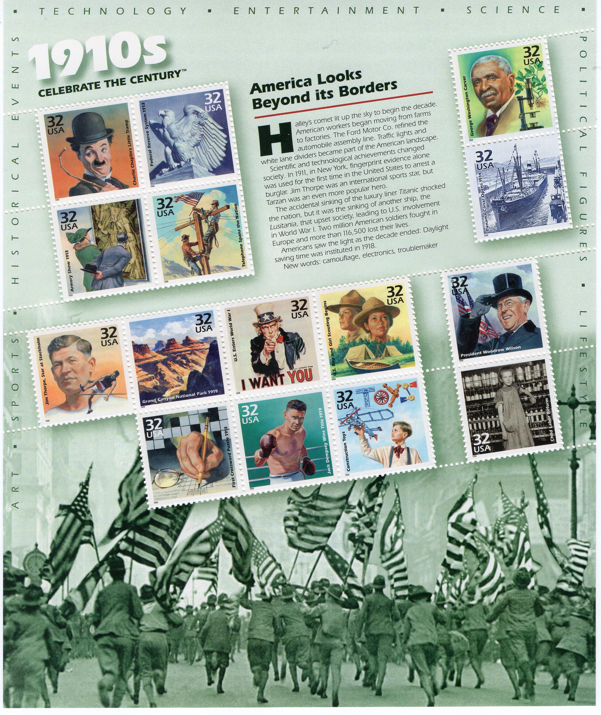 années 1910 - célébrer le siècle série - US timbres-poste Mint - Mint timbres-poste - utilisé - Scott 3183 - feuille complète (15) 900130
