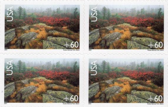 2001 - Acadia National par Park - Maine - paysages - envoi par National avion - 60 Cent FV - timbres US (20) - utilisé - Scott C-138 - feuille complète a33557