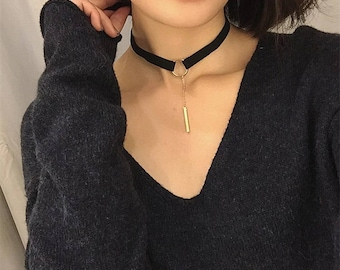 Trendy Goth Style Black Choker Gold Color Bar Pendent