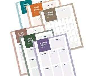 Daily Weekly Monthly Planner, Simple Daily Schedule, Digital Planner Template, Printable Work Day Organizer, Weekly Agenda Binder