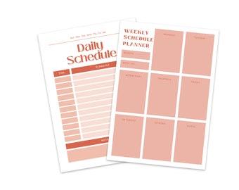 Daily Weekly Planner, Simple Daily Schedule, Digital Planner Template, Printable Work Day Organizer, Weekly Agenda Binder