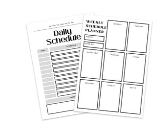 Daily Weekly Schedule, Simple Daily Planner, Digital Planner Template, Printable Work Day Organizer, Weekly Agenda Binder