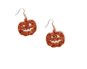 Halloween Pumpkin Orange Dangle Earrings, The Great Pumpkin Jack O Lantern Jewelry, October Trick or Treat Earrings