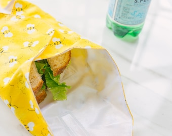 Zero Waste Sandwich Wrap, Bee Reusable Food Wrap, Eco Friendly Snack Bag, Reusable Sandwich Bags, Sustainable Living Gifts for Women
