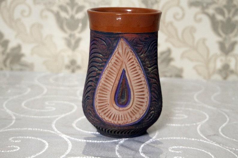 Extra big capacity terracotta mug. Natural colors on mug. image 0