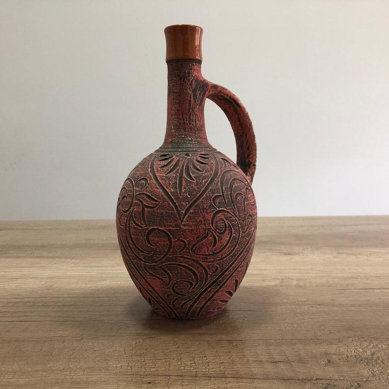 Terracota ceramic cold drink jug carafe capacity 500ml image 0