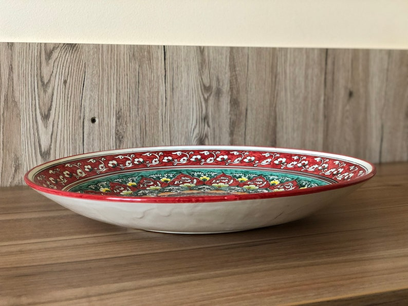 Big red ceramic bowl for holiday dish Beautiful gift for Mom Luxury ceramic bowl