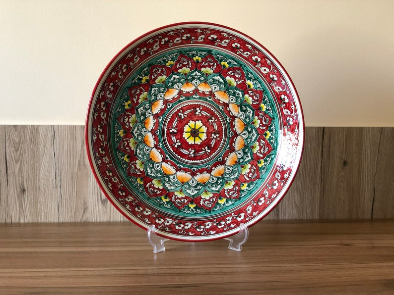 Luxury ceramic bowl. Big red ceramic bowl for holiday dish. image 0