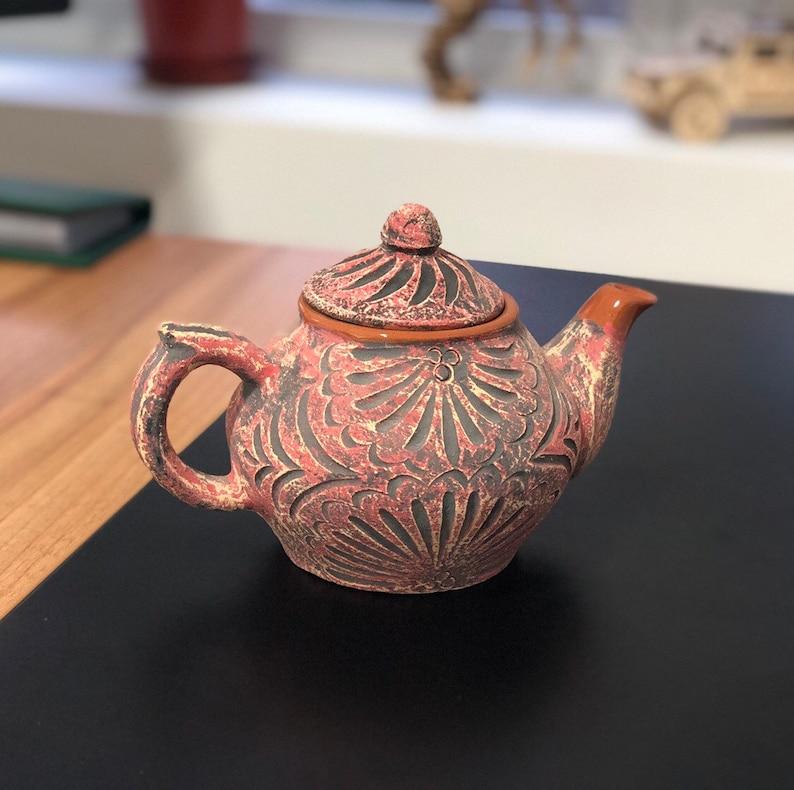 Terracota teapot 400ml. Natural color brown of ceramic image 0